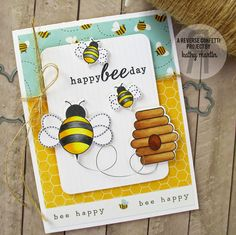 Happy Bee Day by Kathy Martin for #RC using The Buzz stamps and Confetti Cuts.