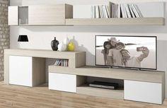 Mueble de salón minimalista color sable y blanco