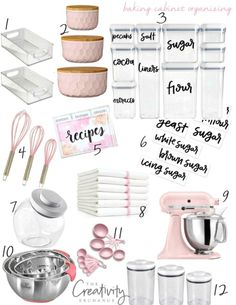 Organizing a baking cabinet with free printable hand lettered labels. Shows which containers to buy