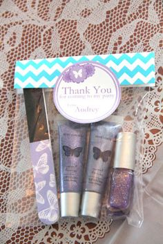 purple blue butterfly meadow spring party lip gloss and nail polish favors.inspiration for the girls' party favors! Girls Pamper Party, Kids Spa Party, Spa Birthday Parties, Sleepover Party, Slumber Parties, Birthday Party Favors, Birthday Ideas, Butterfly Party, Butterfly Birthday