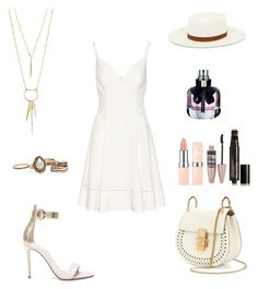 """""""Untitled #844"""" by wali-emna ❤ liked on Polyvore featuring Balenciaga, Gianvito Rossi, Chloé, Janessa Leone, Stella & Dot, Yves Saint Laurent, Maybelline and Soleil Toujours"""