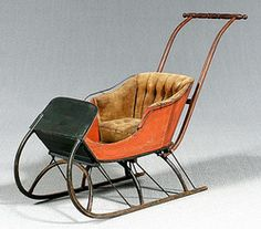 antique push sleigh | transportation, America, A buggy style push sled, bentwood runners and ...