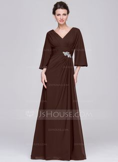 A-Line/Princess V-neck Floor-Length Chiffon Mother of the Bride Dress With Ruffle Beading Sequins (008058390) - JJsHouse