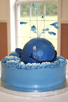 Whale baby shower cake
