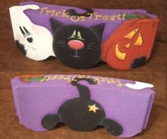 Painted Paver Trick or Treat Halloween Painted Bricks Crafts, Brick Crafts, Painted Pavers, Concrete Crafts, Stone Crafts, Painted Rocks, Brick Projects, Fall Crafts, Holiday Crafts