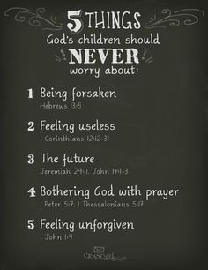 5 things God's children should never worry about!