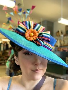 Excited to share this item from my #etsy shop: Bright Blue And Rainbow Boater Hat Boater Hat, Hat Sizes, Rainbow, Bright, Etsy Shop, Hats, Blue, Hat, Rain Bow