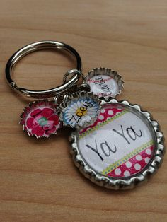 bottle cap charm keychains | GRANDMOTHER/MOTHER Bottle Cap Keychain - Birthday Gift, Teacher Gift ...