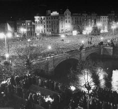 "astroprecious: ""O'Connell Street, Dublin on the night that the Irish Free State became the Republic of Ireland (Easter Sunday, "" Ireland Pictures, Old Pictures, Old Photos, Life Pictures, Amazing Pictures, Republic Of Ireland, The Republic, Yosemite National Park, National Parks"