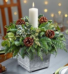 20 Magical Christmas Centerpieces That Will Make You Feel Th.- 20 Magical Christmas Centerpieces That Will Make You Feel The Joy Of The Holidays Galvanized Container Candle Centerpiece - Christmas Candle Decorations, Christmas Flower Arrangements, Christmas Flowers, Christmas Candles, Christmas Themes, Christmas Greenery, Christmas Centrepieces, Table Decorations, Candle Arrangements