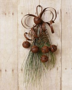 New Country Primitive Rustic Christmas RUSTY BOW & BELLS Teardrop Branch Swag