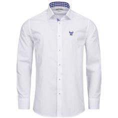 Trachtenhemd Slim Fit zweifarbig in Weiß und Blau von Gweih und Silk