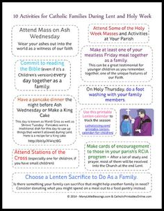 Free printable page featuring ten activities for Catholic families during Lent and Holy Week.