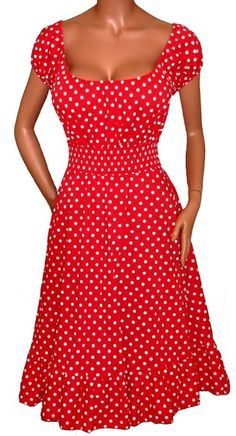 Amazon.com: FUNFASH RED WHITE POLKA DOTS ROCKABILLY PEASANT DRESS Plus Size Made in USA: Clothing *