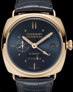Radiomir 8 Days GMT Oro Rosso - - Collection Radiomir - Officine Panerai Watches I like that! Dream Watches, Fine Watches, Cool Watches, Latest Watches, Gentleman Watch, Der Gentleman, Panerai Radiomir, Panerai Watches, Or Rouge