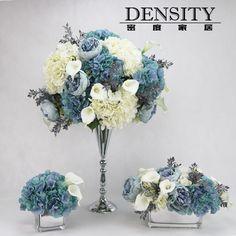 DENSITY密度/高端客厅仿真花成品花艺蓝色/样板间餐桌花假花绣球
