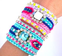 OOAK Rhinestone Friendship Bracelet Neon BohoIbiza by MONOOI, $54.99