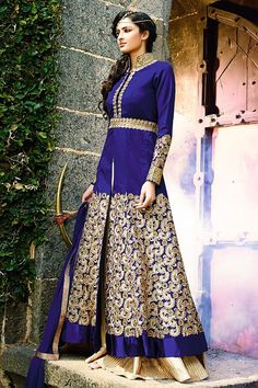 Navy Blue Suit with Golden Floral Embellishments