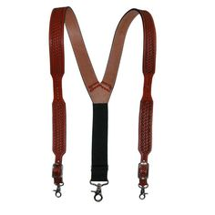 These suspenders are made with high quality craftsmanship and materials. The hand embossed detailing gives it a rich look, and western style. The clips attach to the waistband belt loops easily and securely for a comfortable fit. Please note suspenders are coated in a leather protector and will need to be wiped down before use.