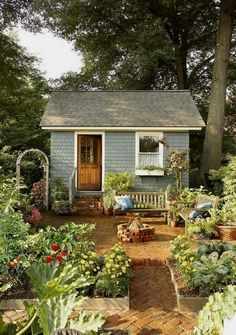 Shed DIY - Cute She-Shed idea #greenhouseideas N .. - CLICK PIC for Many Shed Plan Ideas. #woodshedplans