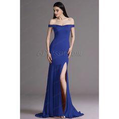 eDressit Royal Blue Off Shoulder High Slit Formal Dress Evening Gown... ($140) ❤ liked on Polyvore featuring dresses, gowns, formal dresses, off the shoulder gown, royal blue formal gowns, formal evening gowns and royal blue evening gown