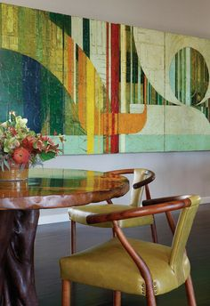Colorful abstract art and warm woods enhance this space  - Modern Interiors for Art Lovers