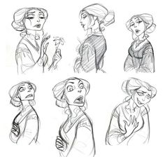 """I started re-posting old drawings from my old blog which is not in use anymore.   These are early concept drawings of Mother Gothel in """"Tangled (2010)"""""""