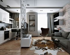 Брутальность на 30 метрах - 3D-проекты интерьеров в стиле лофт | PINWIN - конкурсы для архитекторов, дизайнеров, декораторов