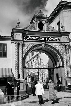 The famous gates of Paramount Pictures, Hollywood, 1939.