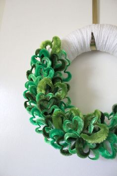 St Patricks Day Wreath Green Hearts Wreath by TheBakersDaughter