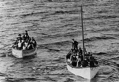 Lifeboats carrying survivors of the Titanic, April 15, 1912.