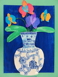 3rd grade ceramic Chinese Ming vase with 3D watercolor orchids; lesson by art teacher: Susan Joe