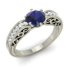 Round Sapphire  and Diamond  Sidestone Ring in 14k White Gold