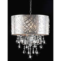 Bring a touch of luxury to your home with this beautiful chrome crystal chandelier. With four lights, a chrome shade, and clear crystal glass details, this modern chandelier will make you feel like royalty without the royal price tag.
