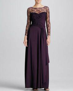 Tadashi Shoji Lace-Overlay Tiered Gown on shopstyle.com