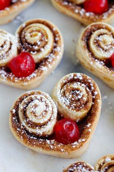 Heart Shaped Cinnamon Rolls - the cutest and best cinnamon rolls ever, made into heart-shape and stuffed with red cherries. So adorable | rasamalaysia.com