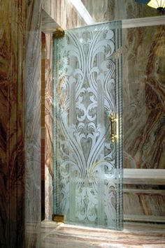Old-World-Tuscan bathroom idea: CBD Glass etched shower door