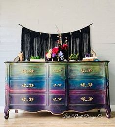 Jewel tones are so in right now! Bohemian Room, Bohemian Interior, Diy Furniture Projects, Furniture Makeover, Colorful Furniture, Painted Furniture, Painted Dressers, French Provincial Dresser, Dixie Belle Paint