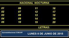 Quiniela Nacional Nocturna Lunes 8 de Junio de 2015. Fuente: http://quinielanacional.com.ar Pizarra del sorteo desarrollado en el recinto de Loteria Nacional a las 21:00 horas. La jugada de la Quiniela Nocturna se efectuó con total normalidad.