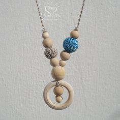 Teething Ring Necklace Blue Slim Necklace, Linen Nursing Jewelry - Breastfeeding Mom, Gift for Grandmother, Eco Baby Shower gift 2015 Design