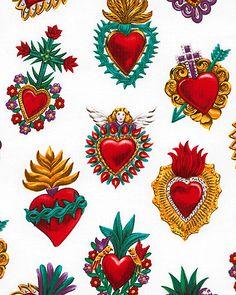Corazones Hearts by Alexander Henry (Folklorico collection). Catholic Art, Religious Art, Kitsch, Sacred Heart Tattoos, Jesus E Maria, L Wallpaper, Deco Boheme, Mexican Folk Art, Sacred Art