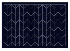 Sashiko Placemat Sampler - Preprinted with wash out stitching lines. This placemat features an arrow design. Arrow Feather, Yarn For Sale, Shop Class, Stitch Lines, Arrow Design, Feather Design, Shibori, Table Runners, Coasters