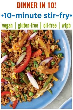 Got 10 minutes Youve got dinner This meatless vegan stirfry is a cinch to make All you need is precooked rice a few veg and simple seasonings This is an easy fast healthy. Vegetarian Stir Fry, Vegan Stir Fry, Vegetarian Recipes Dinner, Vegan Dinners, Fast Healthy Meals, Easy Healthy Recipes, Easy Meals, Best Vegan Recipes, Whole Food Recipes