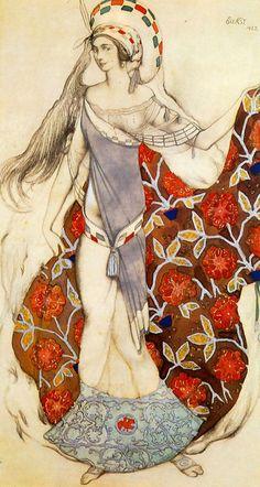 "Leon Bakst ""Costume Design dancer holding the train of her dress for the ballet Paul Paray Confused Artemis"" Theatre Costumes, Ballet Costumes, Dance Costumes, Russian Painting, Russian Art, Léon Bakst, Ivan Bilibin, Inspiration Art, Russian Ballet"