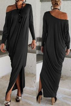 Black Elegant stunning long sleeve Jersey Maxi Dress