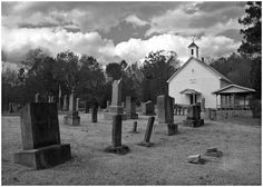 Country church with cemetery, photographed way back in the hills of West Virginia.
