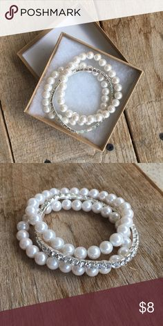 Box O' Pearls & Diamonds 3 piece. faux. worn as a wedding accessory as a bridesmaid. perfect for dressier affairs, i just dont happen to like pearl or diamonds 😜 Jewelry Bracelets