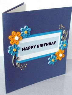 Items similar to Quilled happy birthday card - quilling flowers, pretty, unusual on Etsy
