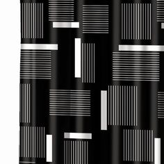 Clayton Shower Curtain — black and white modern geometric, lines and blocks