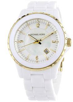 Michael Kors Women s White and Gold Madison 3 Hand Watch 414f93cb7c